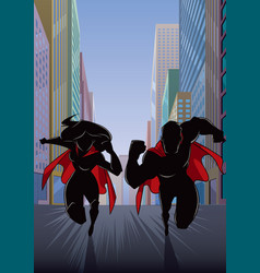 superhero couple running in city silhouette vector image