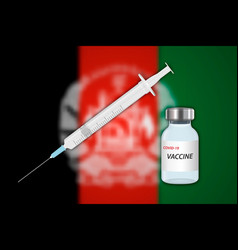 Syringe and vaccine vial on blur background vector