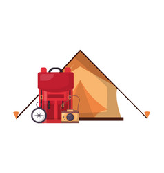tent backpack camera compass camping vector image