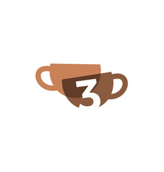 Three 3 number coffee cup overlapping color logo vector