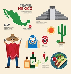Travel Concept Mexico Landmark Flat Icons vector