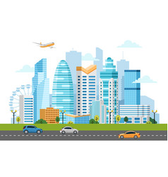 Urban landscape with buildings and skyscrapers vector