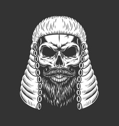 Vintage monochrome skull in judge wig vector