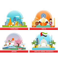 Web buttons travel to japan thailand india uae vector