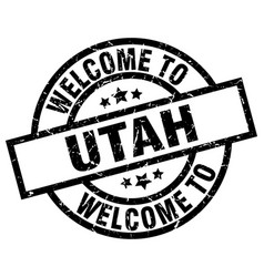 welcome to utah black stamp vector image