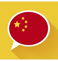 White speech bubble with China flag on yellow vector image