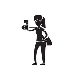 woman taking a picture black concept icon vector image