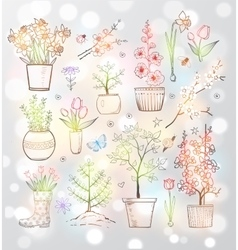 Collection of doodle sketch garden flowers vector image vector image