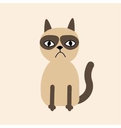 Cute sad grumpy siamese cat in flat design style vector image vector image