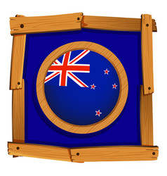 flag of new zealand on wooden frame vector image vector image