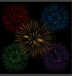 colorful realistic fireworks vector image vector image