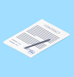 contract agreement paper blank with stamp vector image