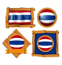 flag icon design for thailand in different shapes vector image
