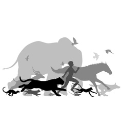 Running with animals vector image vector image
