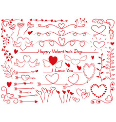 assorted graphic elements for valentines day vector image