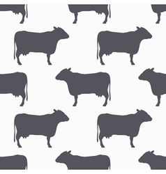 Cow silhouette seamless pattern Beef meat vector image
