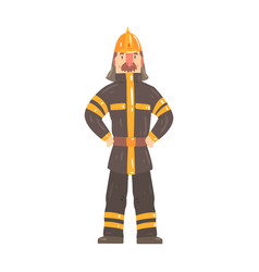 firefighter character in safety helmet and vector image vector image