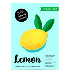 modern healthy food poster with lemon vector image vector image