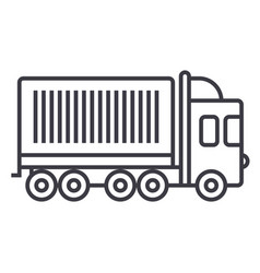 truck cargo container line icon sign vector image