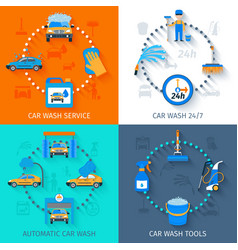 Car wash service 4 icons flat vector image vector image