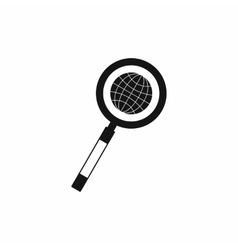 Earth with magnifying glass search icon vector image vector image