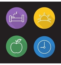 Everyday routine flat linear icons set vector image