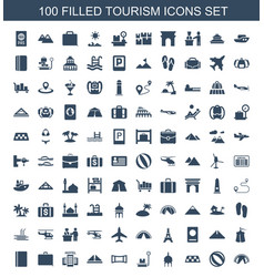 100 tourism icons vector