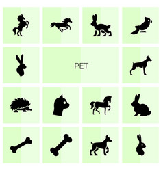 14 pet icons vector
