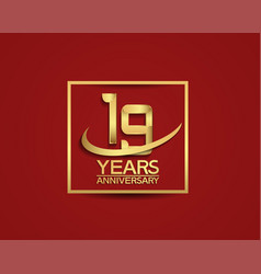 19 years anniversary with square and swoosh vector