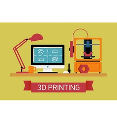 3D Printing Flat Design vector