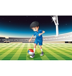 a boy at the field using the ball with the flag vector image
