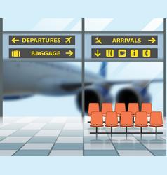 airport terminal interior waiting hall departure vector image