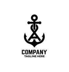 Anchor letter a logo vector