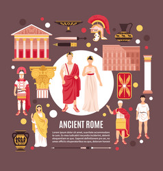 Ancient rome flat composition poster vector