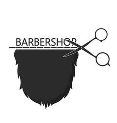 Barbershop symbol of scissors and beard vector
