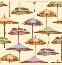 beach umbrellas seamless pattern background of vector image