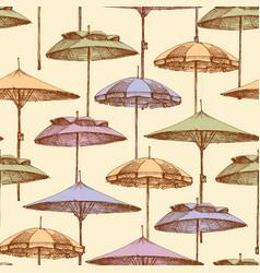 beach umbrellas seamless pattern background vector image
