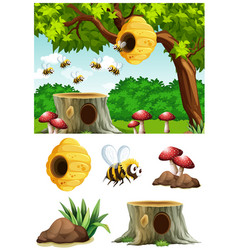 Bees flying around beehive in park vector