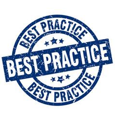 Best practice blue round grunge stamp vector