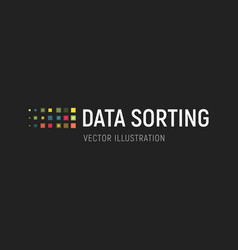 Big data base emblem data sorting vector