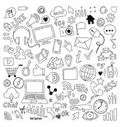 Big set hand drawn doodle cartoon objects and vector