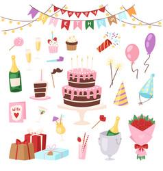 birthday kids party cartoon childs happy vector image
