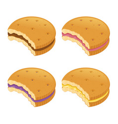 Bitten cookies with various cream flavor vector