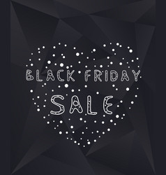 black friday sale poster with heart and dots vector image