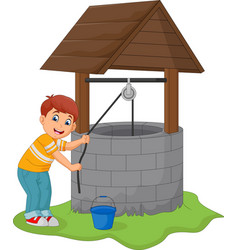 boy take water in the well vector image