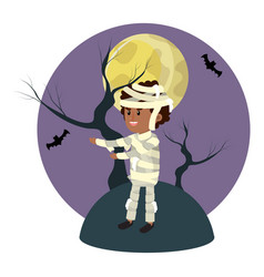 Boy with mommy costume and full moon vector