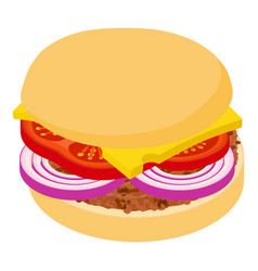 burger cheese icon isometric 3d style vector image