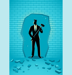 Businessman breaking the wall with hammer vector