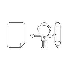 businessman character holding pencil and pointing vector image