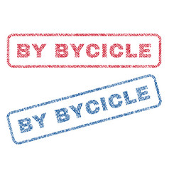 By bycicle textile stamps vector